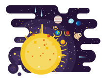 Solar system flat style Stock Photo