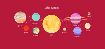 Solar System Icon Flat Design Style Stock Photos