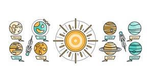 Solar System Icon Flat Design Style Royalty Free Stock Image