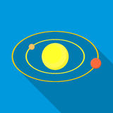 Solar system icon, flat style Royalty Free Stock Photography