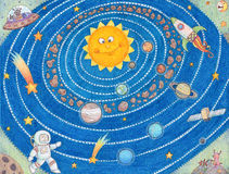Solar System For Kids. Fun illustration of the solar system Royalty Free Stock Images