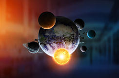 Solar system on office background Royalty Free Stock Images