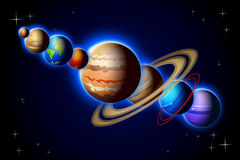Solar system in one line Royalty Free Stock Photos