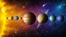 Solar system planet, comet, sun and star. Elements of this image furnished by NASA. Sun, mercury, Venus, planet earth, Mars, Jupiter, Saturn, Uranus, Neptune royalty free stock image