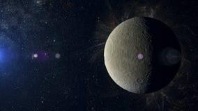 Solar system planet Rhea on nebula background. Stock Images