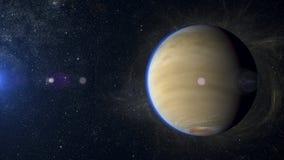 Solar system planet Titan on nebula background. Solar system planet on nebula background Royalty Free Stock Image