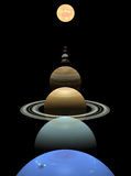 Solar system planets in alignment around sun Stock Photo