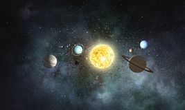 Solar system planets . Mixed media. Solar system planets as science concept. Mixed media royalty free stock images