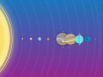 Solar system - planets, comet, satellite of the planets flat illustration with comparative dimensions Stock Image