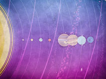 Solar system - planets, comet, satellite of the planets flat textured illustration with comparative dimensions Stock Images