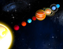 Solar system planets. 3d rendering Stock Image