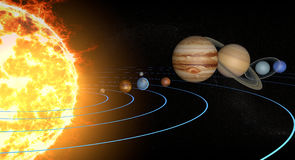 Solar system planets, diameter ratio, quantities, sizes and orbits. Elements of this image are furnished by NASA. 3d rendering royalty free illustration