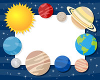Solar System Planets Horizontal Frame. Horizontal photo frame with the eight planets of the solar system with the Sun and the Moon, on a blue outer space stock illustration