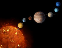 Solar system planets illustration. An illustrated diagram showing the order of planets in our solar system Stock Image