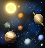 Solar system planets illustration. An illustration of the planets orbiting the sun in the solar system including the dwarf planet Pluto Royalty Free Stock Images
