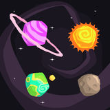 Solar System Planets Including Sun, Earth, Jupiter And Pluto Royalty Free Stock Images