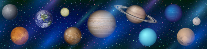 Solar System Planets, Seamless Stock Image