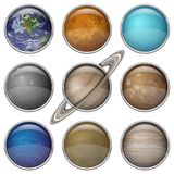 Solar System planets, set buttons. Set of isolated space buttons with planets of Solar System - Mercury, Venus, Earth, Mars, Jupiter, Saturn, Uranus, Neptune and Stock Photo