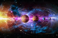Solar system planets set. The Sun and planets in a row on universe stars and lines of gravity background.