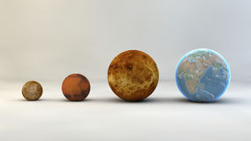 Solar system, planets, sizes, dimensions. Planets in order of size, magnitude, area Royalty Free Stock Image