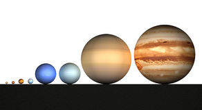 Solar system, planets, sizes, dimensions Royalty Free Stock Photos