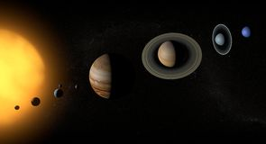 Solar system and planets. Planets of the solar system in space Stock Images