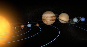Solar System planets space universe sun. Model of the solar system with planets Stock Image
