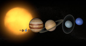 Solar System planets space universe sun. Model of the solar system with planets Stock Images