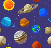 Solar System Planets and Sun Background Pattern. Vector Royalty Free Stock Photography