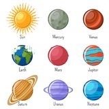 Solar system planets and the Sun with names. On white background. Educational astronomy for kids. Cartoon vector illustration in flat style Royalty Free Stock Photos