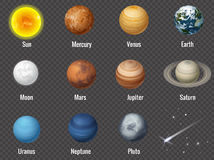 Solar system planets on transparent background,  vector illustration. Royalty Free Stock Photo