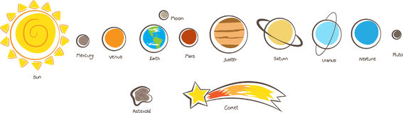 Solar System Planets. Vector illustration of the solar system planets. Eps10 Royalty Free Stock Photos