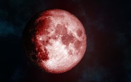 Solar system. Red Moon. Isolated on a cosmic background. Image in 5K resolution for desktop wallpaper. Elements of the image are furnished by NASA Royalty Free Stock Photo