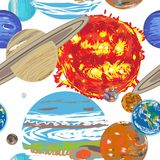 Solar system pattern doodle Royalty Free Stock Photos