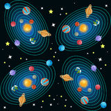 Solar system seamless pattern. Planets with orbits around  the sun and stars on black background. Educational astronomy for kids. Vector illustration in flat Royalty Free Stock Photos