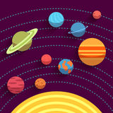 Solar system and space objects. Vector set in flat Stock Photos