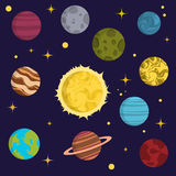 Solar system space planets galaxy earth universe planet astronomy star science cosmos vector illustration Royalty Free Stock Photos