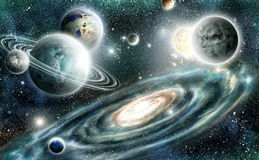 Solar system and spiral galaxy Stock Photo