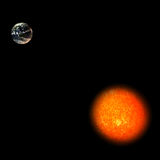 Solar System - Sun and Earth Royalty Free Stock Photography