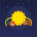 Solar system. Sun hugging planets Royalty Free Stock Images