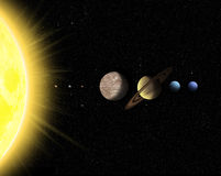 Solar system with sun and planets Stock Photo