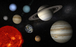 Solar system. Sun and the 8 solar system planets Royalty Free Stock Images