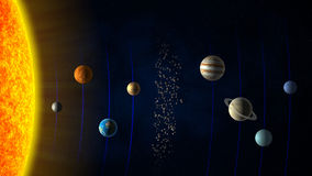 Solar system. Sun, the planets and the asteroid belt Stock Images