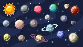 Solar system vector cartoon collection. Planets, moons of Earth, Jupiter and other planet of Solar system, with. Asteroids, Sun and planet rings. Set of royalty free illustration