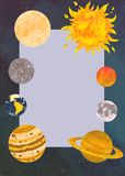 Solar system in vertical frame with stars and comets. Raster textured stock photo