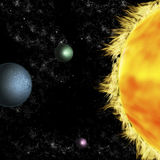 Solar systems: three planets around sun Royalty Free Stock Images