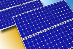 Solar Technology. Theme. Photovoltaic Solar Panels. Horizontal Illustration. 3D Rendered Graphic Stock Images