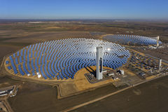 Solar thermal power plant. Aerial view of solar thermal power plant Stock Photos