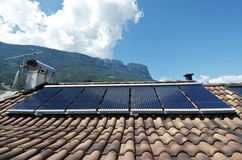Solar thermal system. For hot water and heating stock photos