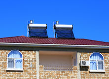 Solar Thermosiphon On The Roof Stock Photos